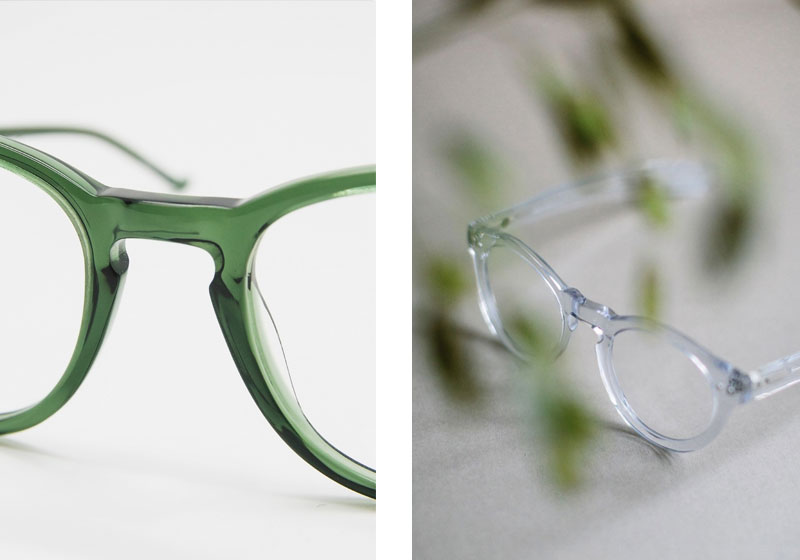 Prescription Glasses Frames with Keyhole Bridge by Black Eyewear.  Green Glasses  & Clear Frame Glasses